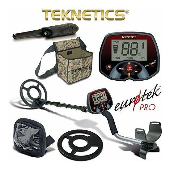 """Teknetics Eurotek Pro fémkereső 20 cm-es (8"""") keresőfejjel + pinpointer + koptató + táska"""